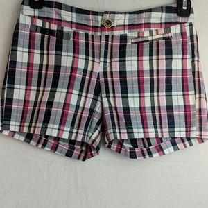 Banana Republic size 0 pink and black plaid shorts